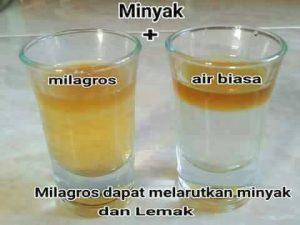 massa jenis milagros sama dengan minyak goreng